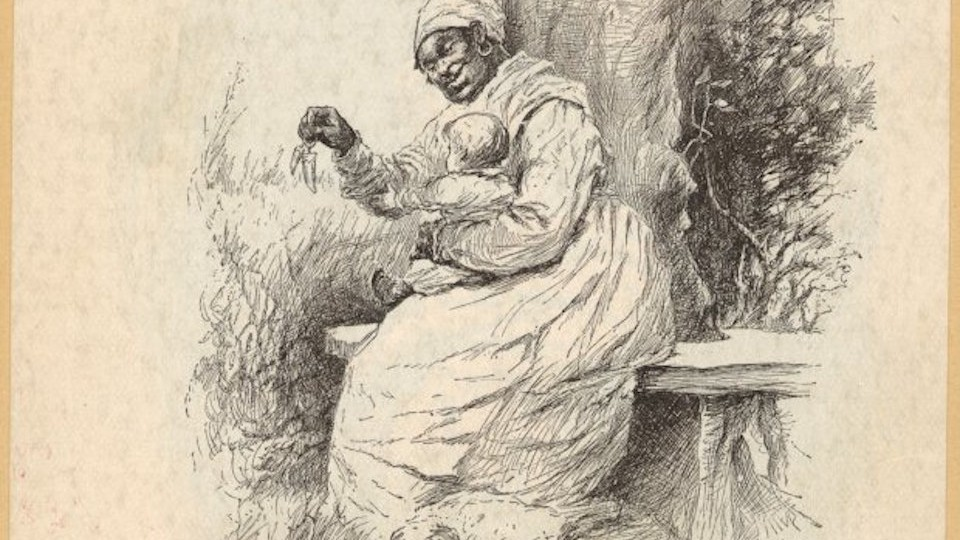"""A 19th-century illustration of a black """"mammie"""" with a white child"""