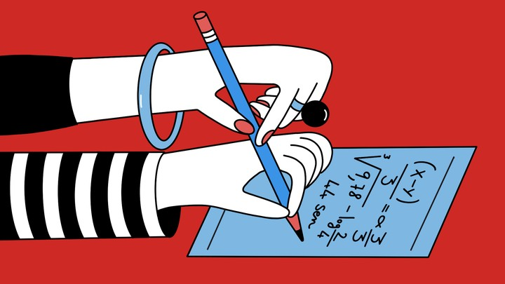 illustration of two hands holding a pencil and writing mathematical equations