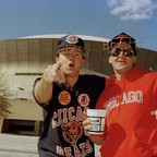 Two fans decked out in Chicago Bears regalia prepare to cheer their team in Super Bowl XX in New Orleans in January 1986.