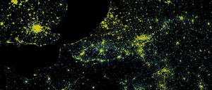 A map of Europe's population density.