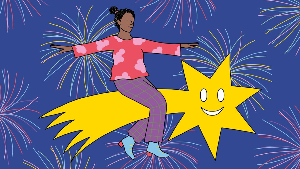 A woman rides a smiling shooting star, with fireworks in the background.