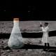 A scientist examining a cartoon beaker on the lunar surface.