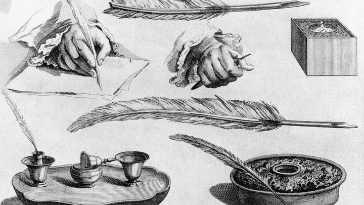An illustration of multiple 18th-century writing instruments, including quills and inkpots