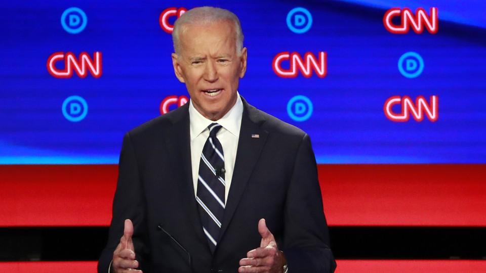 Former Vice President Joe Biden speaking at the second Democratic debate.