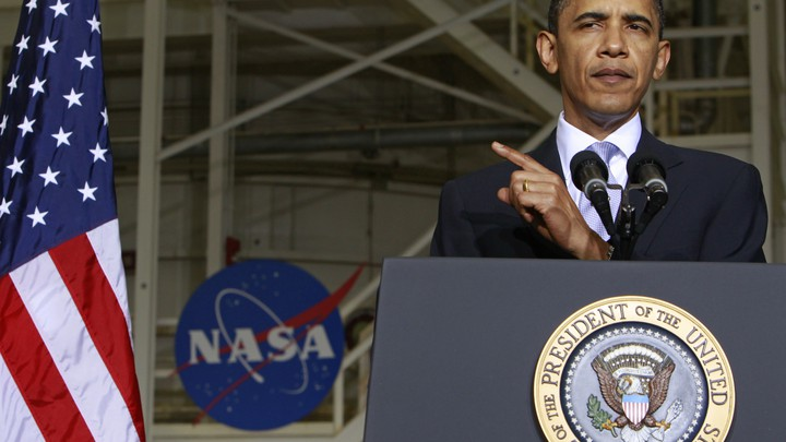 President Barack Obama delivers a big space policy speech in Cape Canaveral, Florida, on April 15, 2010.
