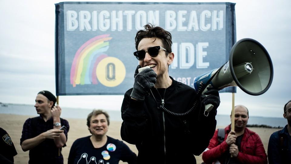 Masha Gessen speaks at the LGBT Pride March in Brighton Beach, New York, on May 20, 2017.
