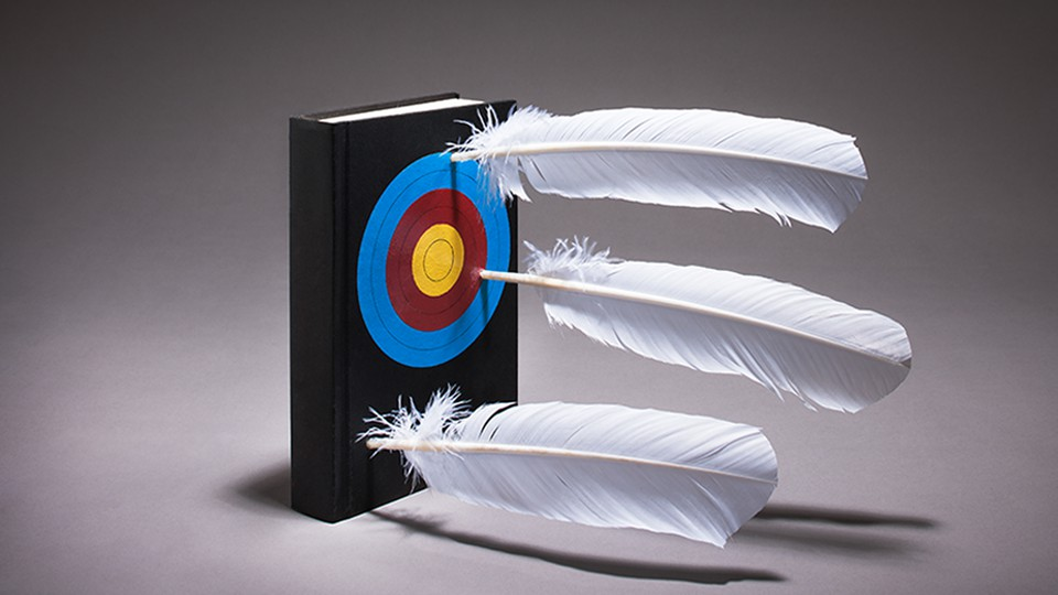 Feathers lodged in a book with a target painted on the cover.