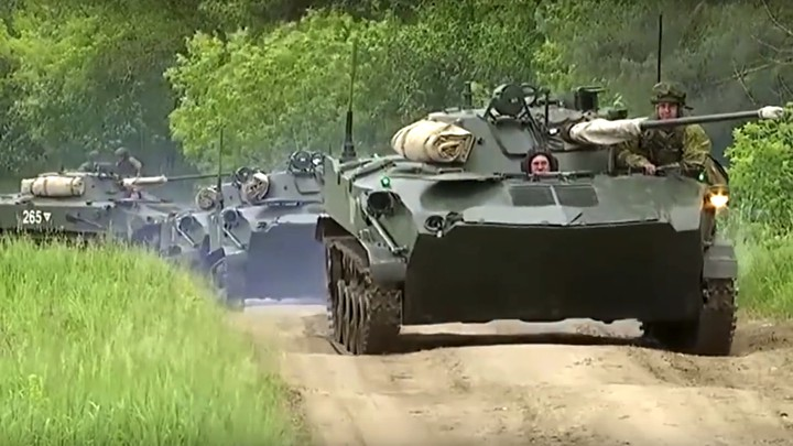 Russian armored personnel carriers roll during the Vostok 2018 exercises in Siberia.