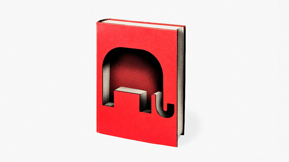 An illustration shows a red hardcover book. The book has been cut into, leaving the shape of an elephant.