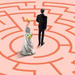A bride and groom at the center of a maze