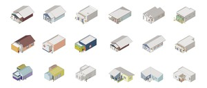A design rendering of more than a dozen different backyard-cottage templates.
