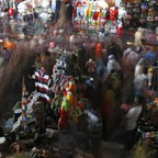 A photo of shoppers in the central textile market of downtown Jakarta.