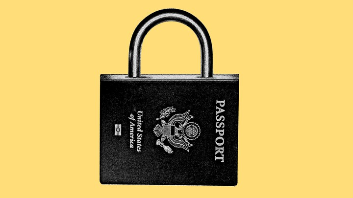 An American passport refashioned as a padlock