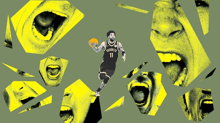 A Brooklyn Nets basketball player surrounded by screaming mouths