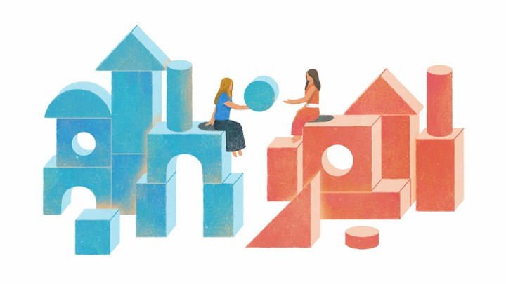 An illustration of the two friends sitting on blue and red colored building blocks.