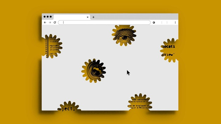 An illustration of a internet browser window with cutouts.