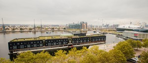 The Good Hotel, which is on a floating barge, is docked in London.