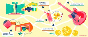 An illustrated map of Houston attractions, including Screwed Up Record & Tapes, The Menil Collection, Bar 5015, The Silver Slipper, and Canino Produce