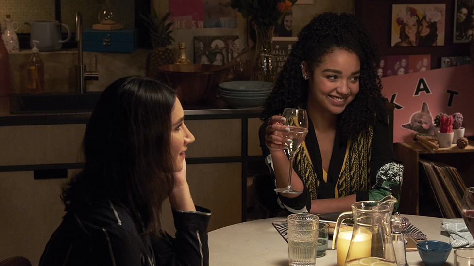 Adena (Nikohl Boosheri) and Kat (Aisha Dee) have dinner with Kat's parents on 'The Bold Type'