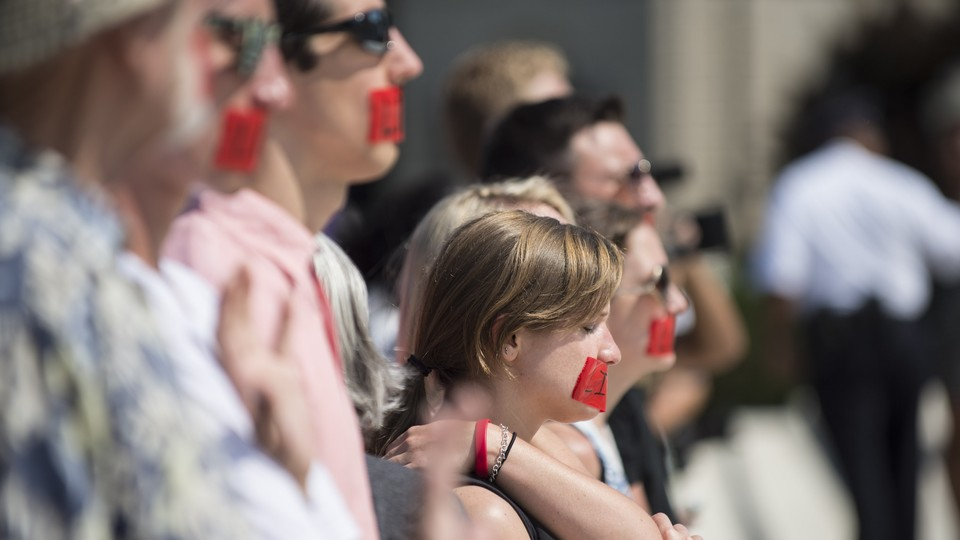 Pro-life activists pray on the steps of the United States Supreme Court on June 27, 2016.