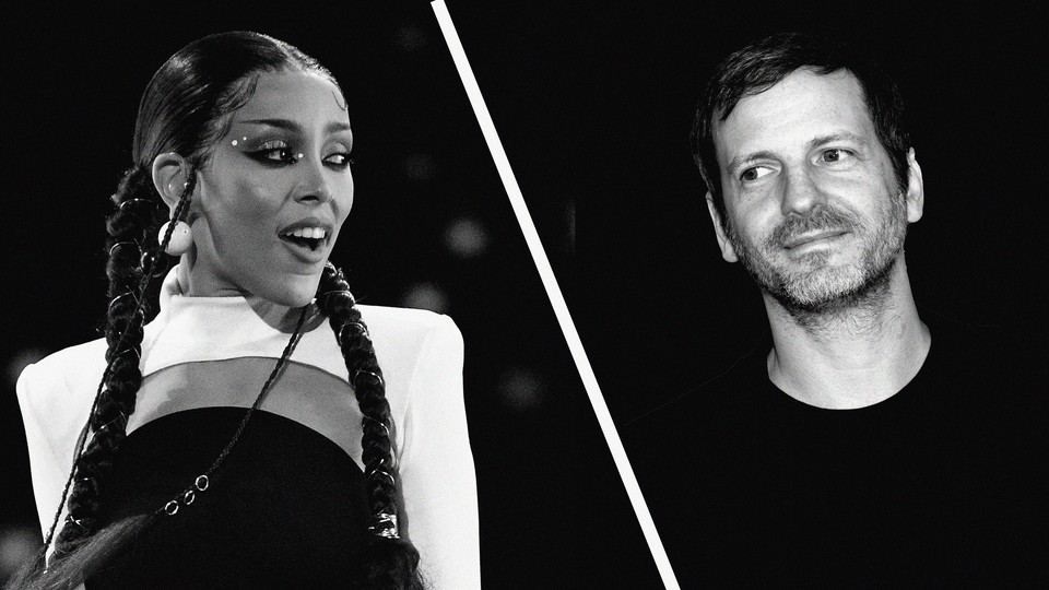Black-and-white images of Doja Cat and Dr. Luke side by side
