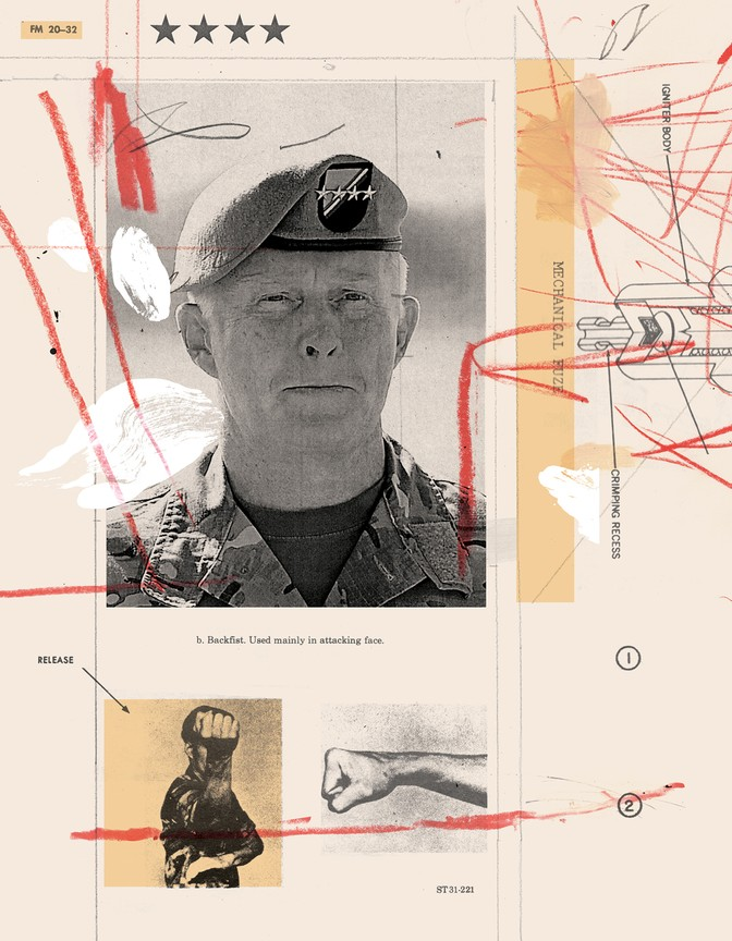 "Illustration: collaged images from ""Hand to Hand Fighting"" and a photo of General Raymond A. ""Tony"" Thomas"
