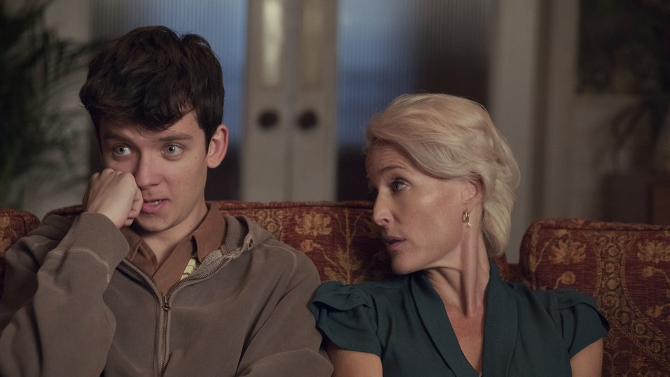 Asa Butterfield (Otis) and Gillian Anderson (Jean) in Netflix's 'Sex Education'