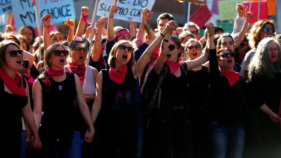 Women attend a protest against the World Congress of Families in Verona, Italy, in March.