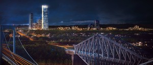 Rendering of a 65-story glass skyscraper in Quebec City seen at night.
