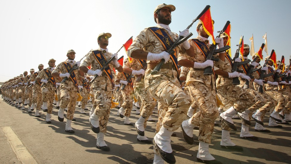 IRGC marches during a 2011 parade commemorating the anniversary of the Iran-Iraq War in the 1980s.