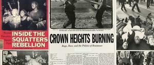 An illustration shows Village Voice pages.