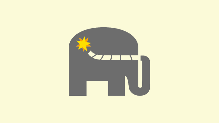 An illustration shows a gray elephant with a lit fuse at the end of its tail.