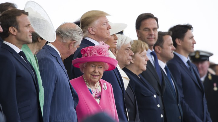 World leaders including Emmanuel Macron, Theresa May, Queen Elizabeth II, Donald Trump, Angela Merkel, and Justin Trudeau attend a ceremony marking the 75th anniversary of D-Day in Portsmouth, England.