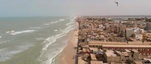 An aerial view of where Saint-Louis, Senegal, meets the Atlantic Ocean.