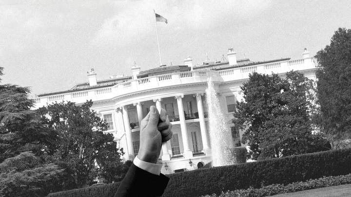 Hand grabbing the White House