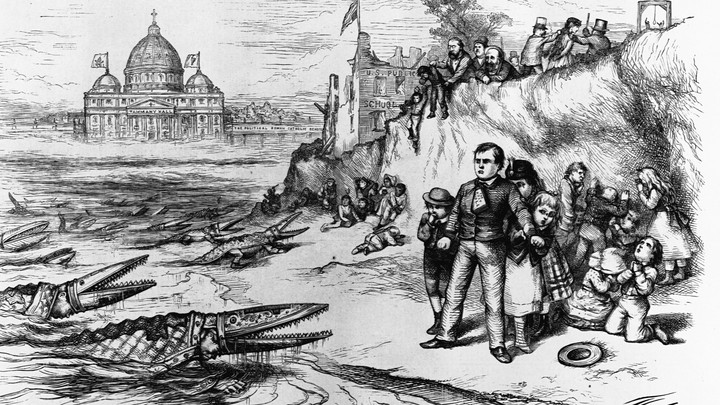 A cartoon by Thomas Nast depicting Catholic bishops as crocodiles eager to gobble up American schoolchildren. It first appeared in Harper's Weekly on September 30, 1871.