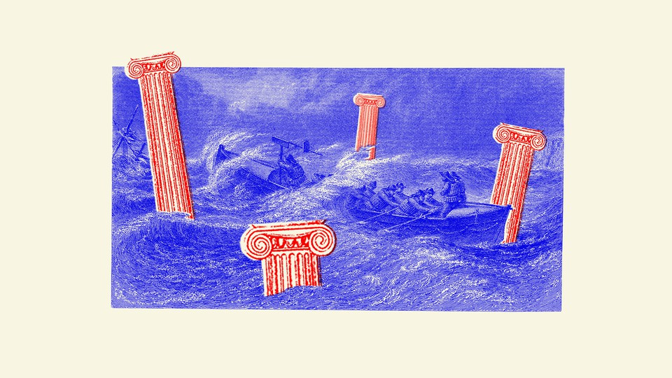 Artwork of toppled pillars sinking in the sea