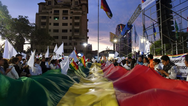 People attend a rally for peace in Cochabamba, Bolivia, on November 21, 2019.
