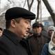 Serikzhan Bilash addresses reporters outside a courthouse in Almaty, Kazakhstan.