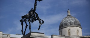 """""""Gift Horse""""—a skeletal sculpture of a horse by artist Hans Haacke—debuted on the Fourth Plinth in London's Trafalgar Square in 2015."""