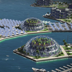 A rendering of a future floating city.