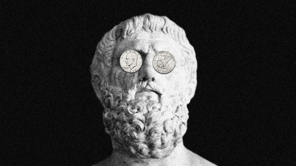 An illustration of a statue with coins over its eyes.
