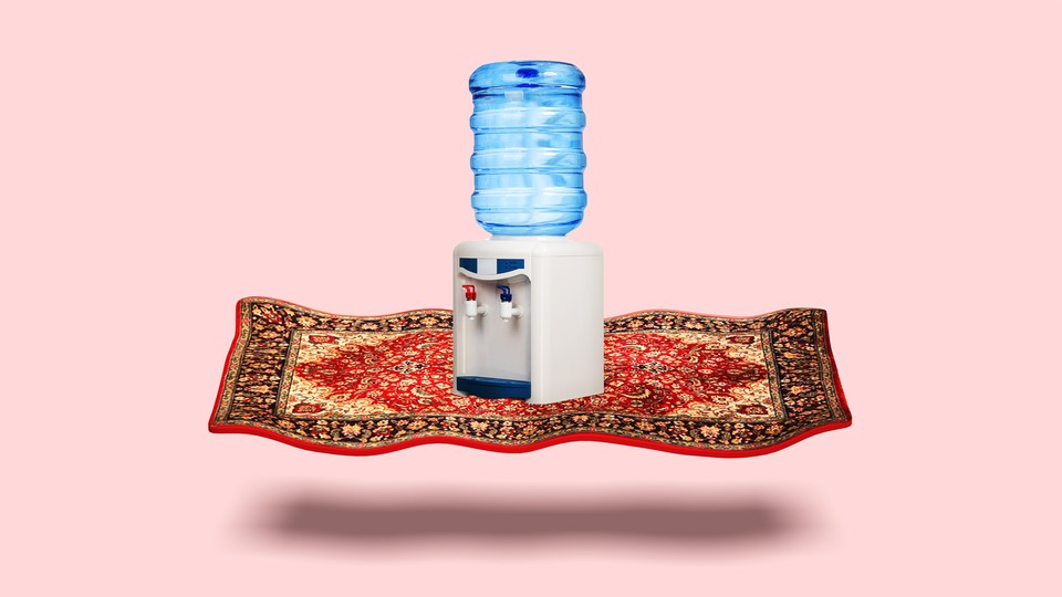 Illustration of a watercooler on a magic carpet
