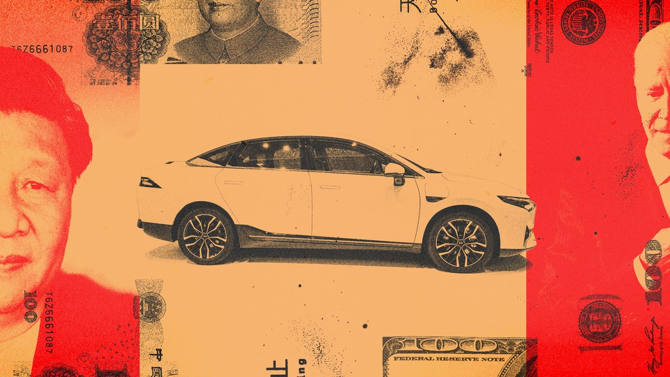 A collage featuring Xi Jinping, Joe Biden, an electric car, and 100 renminbi and $100 notes