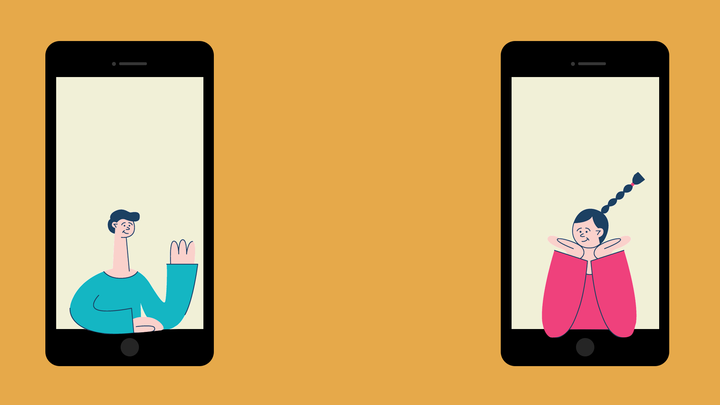 Two iPhones, one with a boy in a blue shirt, waving at the girl in a pink shirt in the other one.