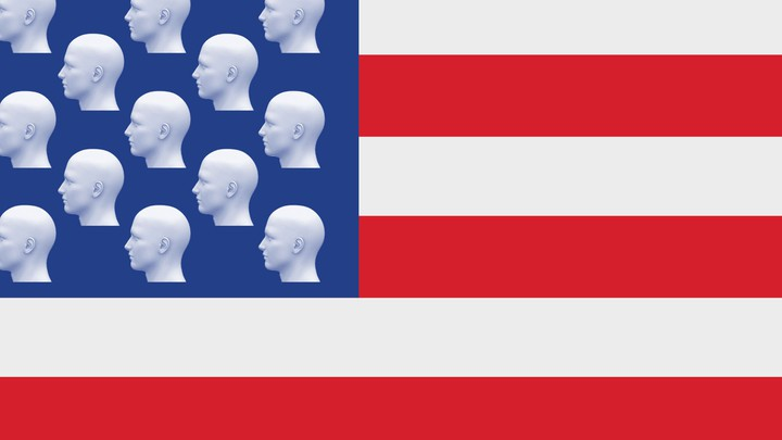 An illustration of an American flag with heads replacing the stars
