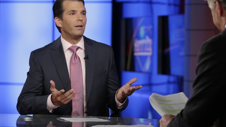 Donald Trump Jr. is interviewed by host Sean Hannity on his Fox News Channel television program on July 11, 2017.