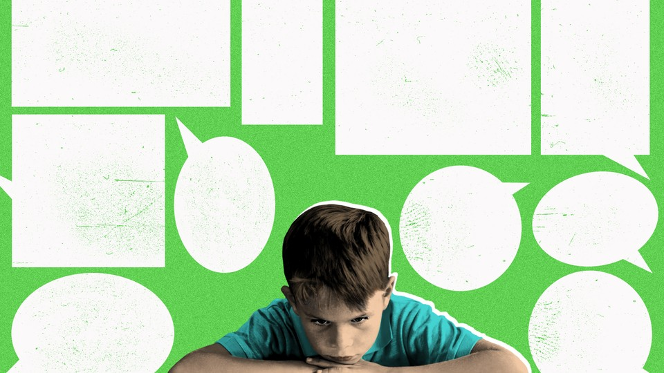 A custom illustration featuring a kid reading a book and empty thought bubbles
