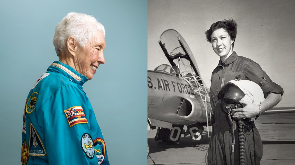 A recent photo of Wally Funk in a flightsuit (left), a photo of young Funk, standing near an Air Force plane