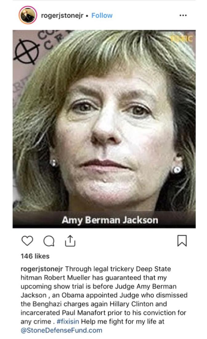 Roger Stone's Online Attack on Judge Amy Berman Jackson - The Atlantic